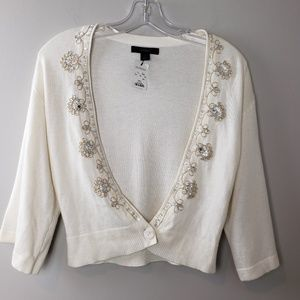 Cashmere Blend Beaded Cardigan Sweater Size Small
